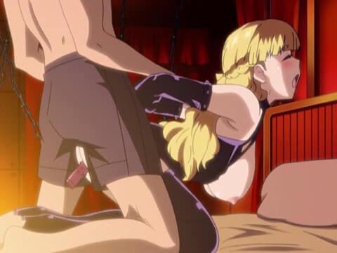 金髪お嬢様のみつぐが女王様ボンデージ姿でバックからアナルを犯される(エロアニメ「リゾートBOIN 第3話」)