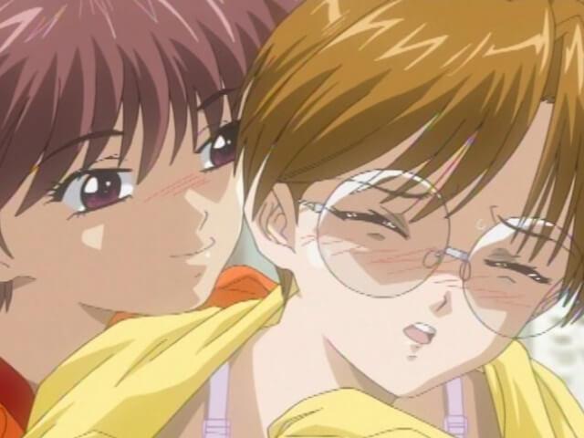 バイト終りにレナが眼鏡ショートカット彩夏のおっぱいを揉む(エロアニメ「淫娘2」)