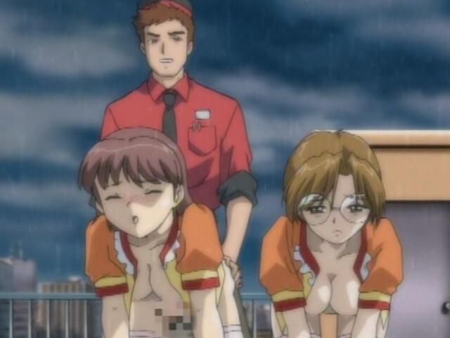 眼鏡ショートカットの彩夏が犯されるのを見て欲情したレナが自らチンポをおねだりしてバックハメ(エロアニメ「淫娘2」)